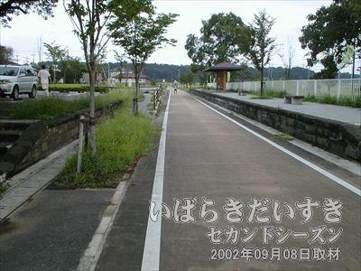 【常陸藤沢駅は両側にホーム】駅のホームは当時のものがそのまま残されています。大きさから見て、規模の大きい駅だったのでしょう。