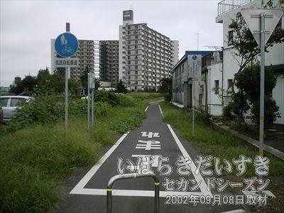 【線路はアールを描く】下り常磐線の車両からも見えますが、アールを描いた集合住宅に沿うように、筑波鉄道の線路がありました。
