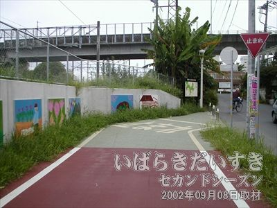 【つくばりんりんロード終点】本当なら乗馬線 土浦駅構内まで続く筑波鉄道も、筑波りんりんロードとしてはここでおしまいです。