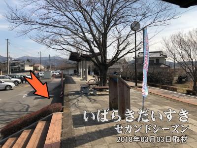 【筑波山口駅】旧筑波駅ホームのわきに、のりのり自転車置き場がありましたが、今(2018年)現在は無くなっています。