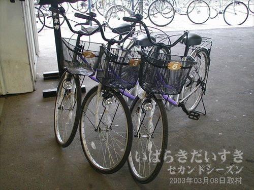 潮来観光協会のレンタル自転車<br>潮来駅前の潮来観光協会にてレンタル自転車の貸し出し。用意されている自転車はママチャリですが、歩きで移動するよりは全然行動範囲が広がります。