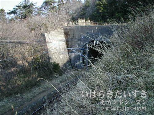 台ノ山トンネル(現行:広野駅方面)<br>畑のあぜ道を歩き抜けると、眼下に台ノ山トンネルが確認できました。