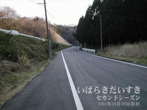 山道アスファルトに戻る<br>台ノ山トンネル(旧トンネル)へのアクセスはあきらめ、末続駅に向かう為、道を急ぎます。