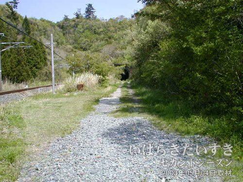 線路沿いを進む<br>夕筋トンネルが見えてきます。左手には夕筋踏切があります。