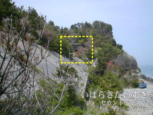 高台にちらりと見えるは、台ノ山トンネル<br>レンガ調の作りである事から、現行トンネルでは無く、旧トンネルである事は間違いありません。でも、どうやってあそこに行くのかしら(??)。