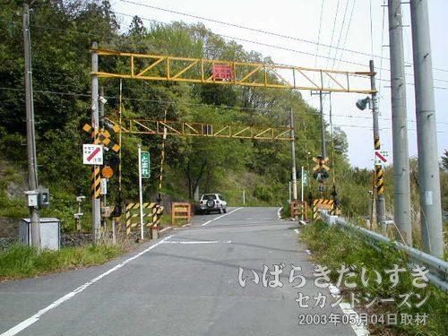 東禅寺踏切<br>車の往来も多く、一般的に使われている通り。