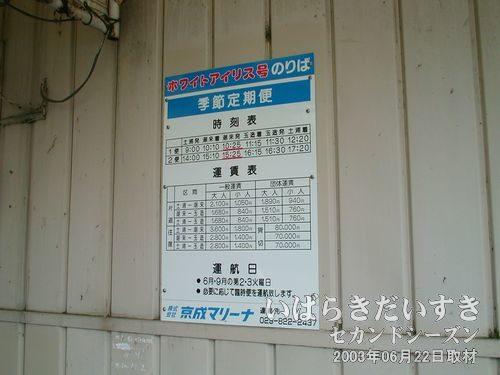 ホワイトアイリス号の時刻表(潮来港)<br>「季節定期便」という名目で06月と09月の第2、3火曜日だけ就航しています。