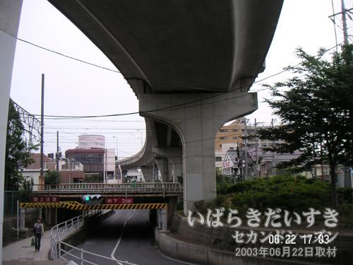 川口川の線路下通路を通る<br>その昔、この辺りも霞ヶ浦と繋がっていました。今は埋め立てられて、道路になっています。