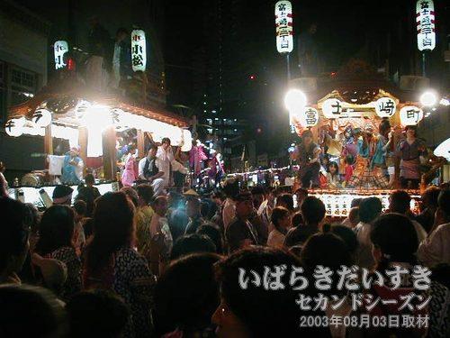 駅前大通り(土浦駅方面)<br>小松1・2・3丁目(左)と富士崎1・2丁目(右)。
