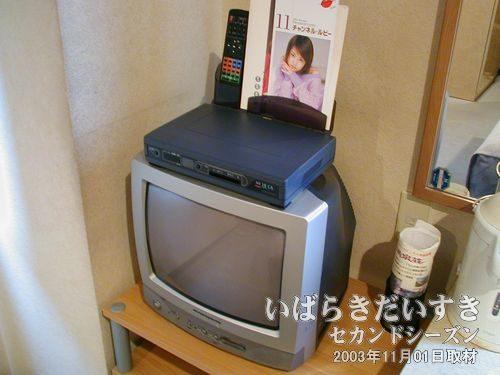 テレビ<br>アダルトなパンフレットが見えます。通常放送は無料で観られます。
