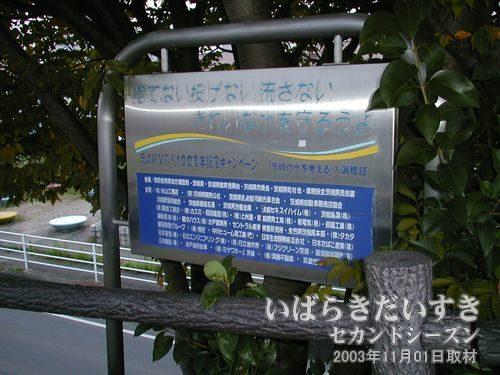 茨城新聞創刊100周年記念キャンペーン<br>「捨てない投げない汚さない きれいな水をまもろうよ」。千波湖からでした。