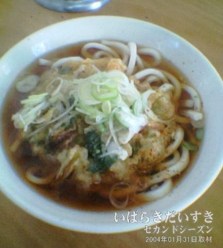 新松戸駅の駅そば 天ぷらうどん<br>新松戸駅ホームにある駅そば屋さん。汁が美味しい。コシのないうどんうどんも、茨城(千葉?)流です。