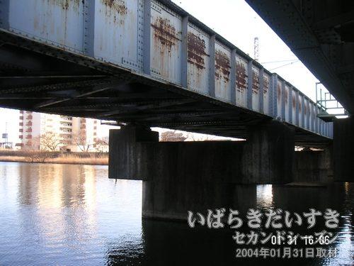 一番奥の橋<br>霞ヶ浦寄りの鉄橋が、常磐線旧線(廃線?)と思われるJRの橋です。