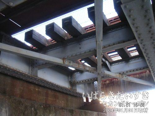 枕木は「木製」<br>鉄橋を見上げると枕木が見えます。最近の真倉気はコンクリート製ですが、こちらは木製。古さを感じさせます。