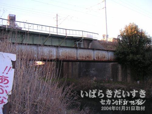 旧線跡:備前川橋りょう<br>先ほどの「びっくりカードでは旧線の橋は撤去されていましたが、こちらの備前川橋梁は遺されています。