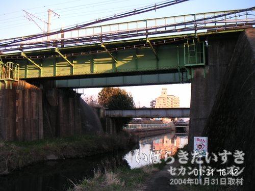 備前川橋を反対側から見てみる<br>現行の線路(手前の緑色の橋)から見比べると、旧線の橋が意外と離れていることが分かります。