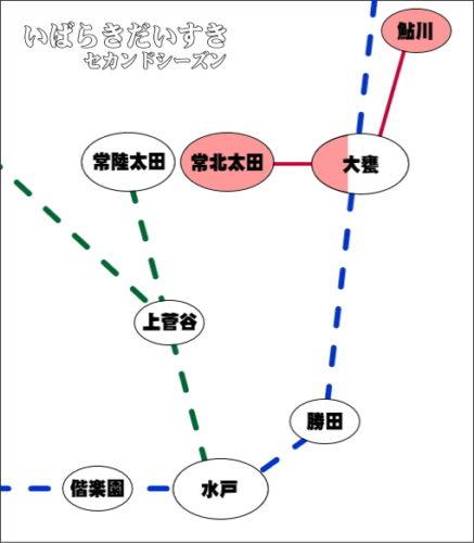 近隣路線図<br>赤いライン部分が、日立電鉄線です。常磐線大甕駅と水郡線常陸太田駅に接続しています。鮎川えきは独立駅です。