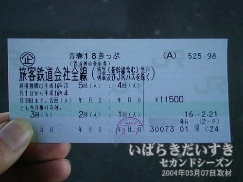 青春18きっぷ<br>JR全線の普通車が乗り放題。特急(新幹線)はご利用いただけません。