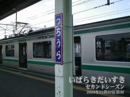 「つちうら」の駅名標<br>古いタイプの駅名標です。
