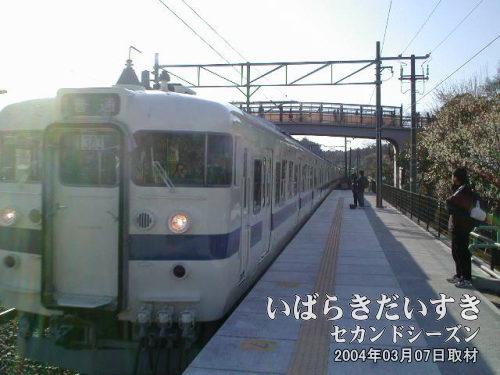 勝田駅行き白電が入線<br>勝田駅は水戸駅寄りひとつ先の駅。水戸にこなれない方は、この電車が水戸駅に行くのか迷うみたいです。水戸駅に行きます。