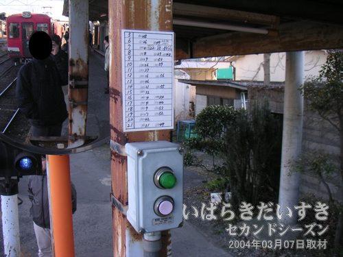 発車ベルと時刻表<br>こちらの時刻表も手書きです。