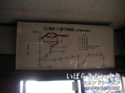 バス路線図<br>常北太田駅舎内に掲げられた、太田駅近辺のバス路線図。
