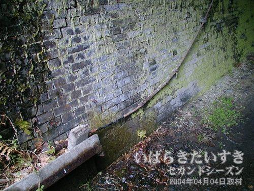 トンネル内部<br>ケーブルが引かれています。