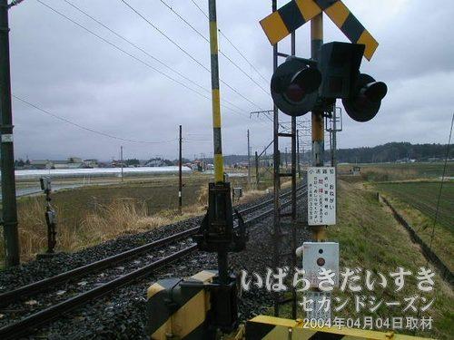 小浜踏切<br>遠くに高架橋が見えるので、駅があるはず。