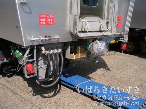 牽引用のベルト<br>車両には青色の牽引用のベルトが装着されています。その先には・・・(→)