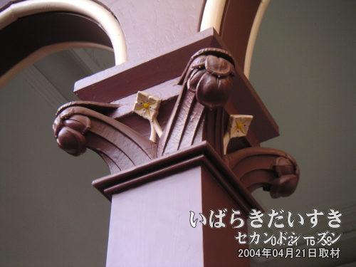 イオニア式<br>意匠はイオニア式。石造りの構造が、そのまま意匠として採用されたのを再現。