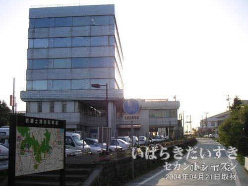 筑波鉄道 新土浦駅 跡<br>左手のビルに土浦ケーブルテレビが入っています。下の道路(つくばりんりんロード)が筑波鉄道の廃線線路跡です。