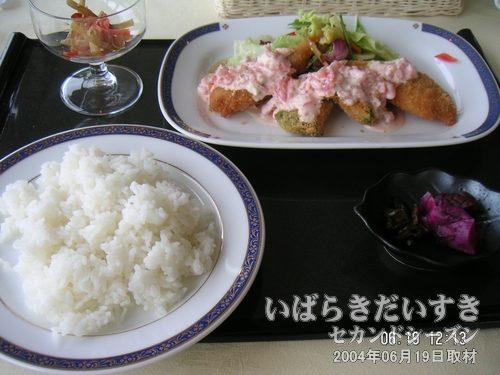 白身魚のフライ 定食<br>潮来ホテル レストランのランチ。若干お値段が高い気もしますが、ホテルの食事ならこのくらいかも。トマトが混ざったタルタルソースが、白身魚のフライの食欲を盛り立ててくれます。おいしかったですよー。