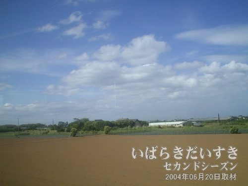 畑と青空<br>絵になる風景ですが、車窓越しの撮影なので、うっすらぼやけます。