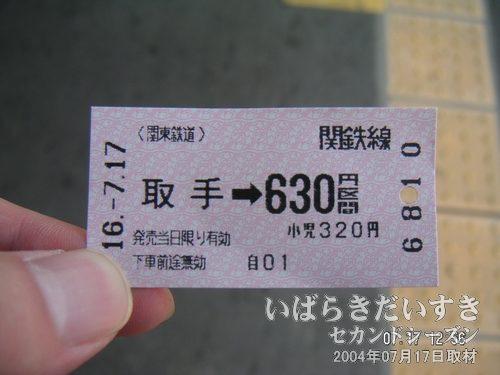 水海道駅までのきっぷ<br>自動改札に対応した、裏が黒い磁気式のきっぷ。