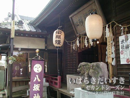 諏訪神社<br>お祭りのため、神社内も飾り立てられています。