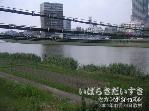 桜川を渡ると土浦駅に入線します<br>土浦駅前市街地が見えると、土浦に来たな~、って感じがします。
