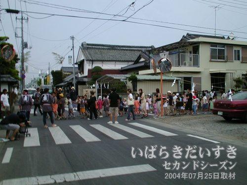 綱を曳く集団<br>撮影をしていたら、遠くで綱を曳く(引く)子どもたちの集団があらわれました。