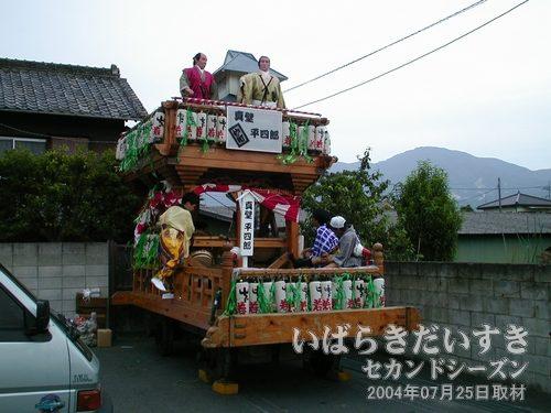 「仲町」の山車<br>ちょうど休憩中のようで、駐車場の一角に固定されています。