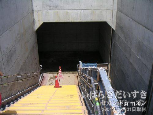 つくば駅 ホームに下りる階段<br>階段前までくると、警備員さんが案内してくれました。