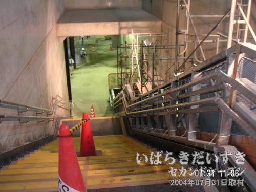 つくば駅改札への階段を下りていく