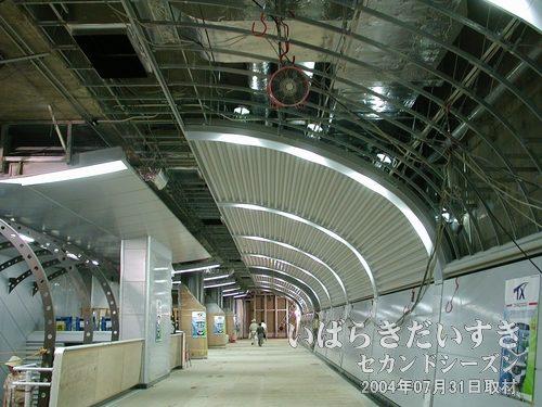 天井<br>骨組みのフレームが見えますが、部分的に警鐘板(仕上げ?)がはめてあります。