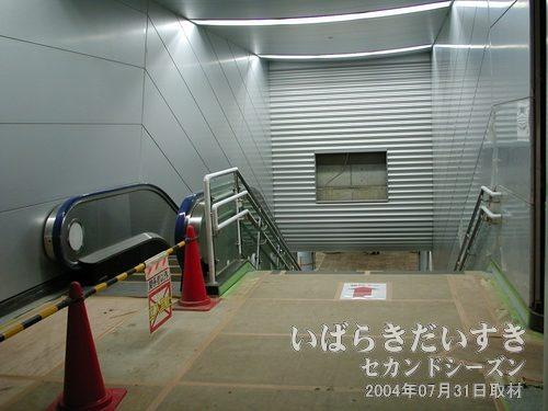 ホーム階へ下りる階段<br>左手にはエスカレーター。正面には広告が入る電光掲示板が工事中です。