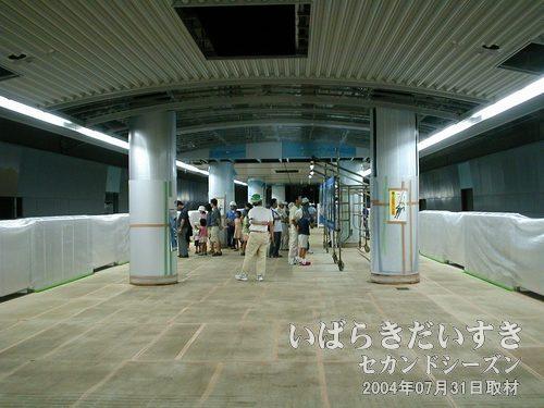 つくば駅 ホーム階<br>つくば駅は盲腸駅の終着駅。ここでもパネルが用意され、子どもたちが説明員さんの話を聞いています。