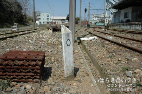 【 距離標:0キロポスト 】<br>営業キロの起点となる「0キロポスト」。日立電鉄線は、ここから始まったのです。