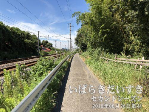 常磐線の車掌、東側に見える道を北上する。