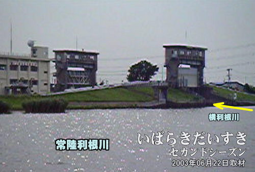 横利根水門(茨城県潮来市)<br>霞ヶ浦から流れる常陸利根川と横利根側を管理する水門。