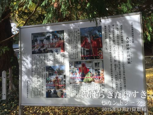 「西金砂神社 田楽舞」の看板