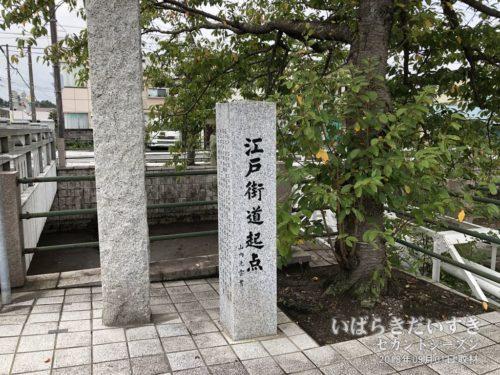 水戸街道(江戸街道)の水戸側の終起点の碑。