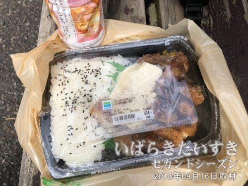 お昼は、タルタルチキンカツ弁当<br>石岡のおまつり時のお昼の定番、ファミリーマート石岡国府店で食事をします。