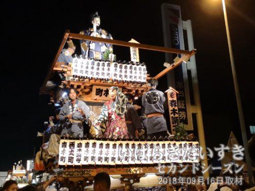 森木町の山車。人形は菅原道真。